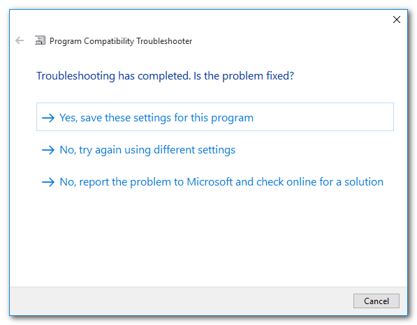 "Click ""Yes, save these settings for this program"""