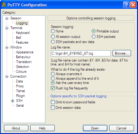 PuTTY Logging options